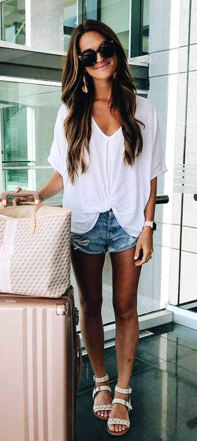 Summer #Outfits / White V Neck Blouse + Denim Shorts | Late summer .