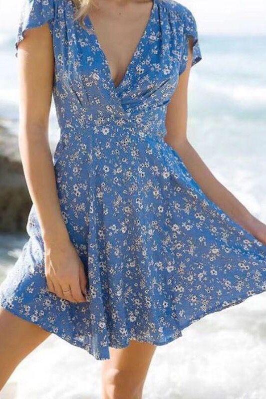Print Boho Dress V-Neck With Sashes High Waist Short A-line Party .