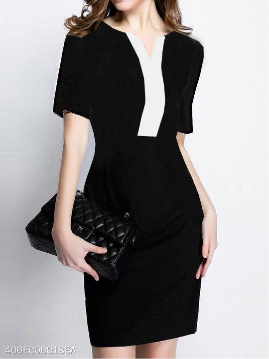 V Neck Color Block Bodycon Dress | Color block bodycon dress .