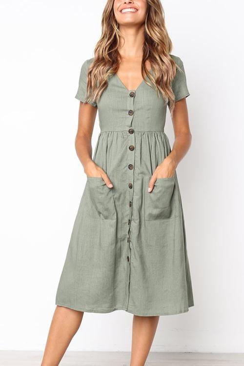 Venidress Summer V Neck Button Down Vicky Midi Dress | Mid calf .