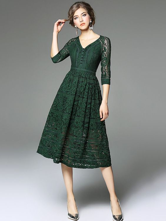 Green V Neckline Hollow Out Lace Dress | Green lace dresses .