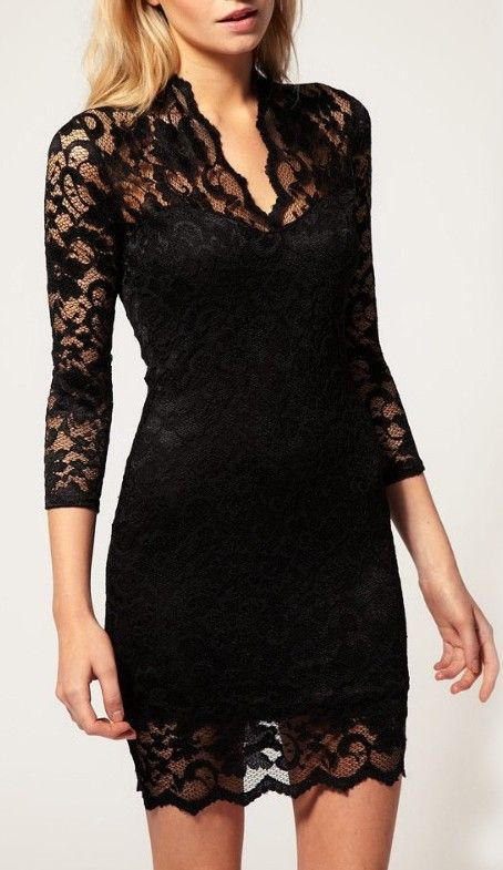 New Lace V-Neck 3/4 Sleeve Dress | Little black lace dress .