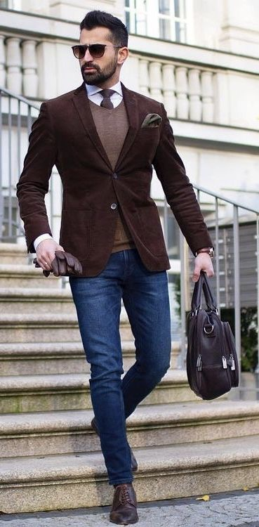 makanveli - with a business casual idea with a dark brown blazer .