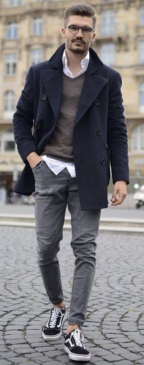 justusf_hansen - with a fall outfit idea with a navy pea coat gray .