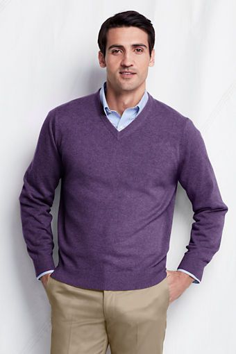 Men's Cashmere V-neck Sweater from Lands' End | Long sleeve tshirt .