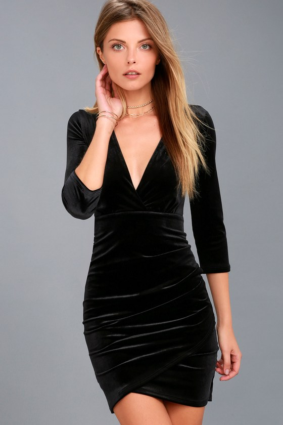 Stunning Black Velvet Dress - Bodycon Dress - Surplice Dre