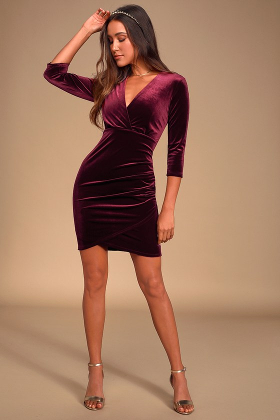 Stunning Burgundy Velvet Dress - Bodycon Dre