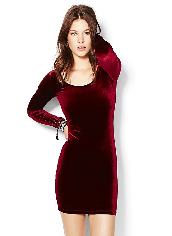 Velvet Bodycon Dress - Dresses - Gara