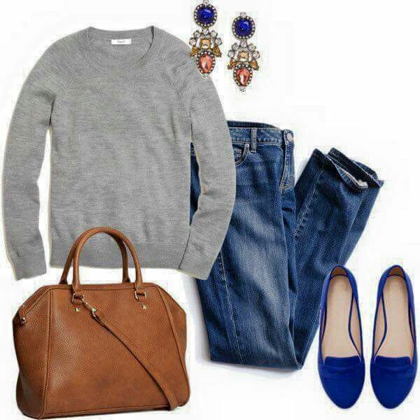Sweater with velvet flats, jewel tone earrings and a brown bag .