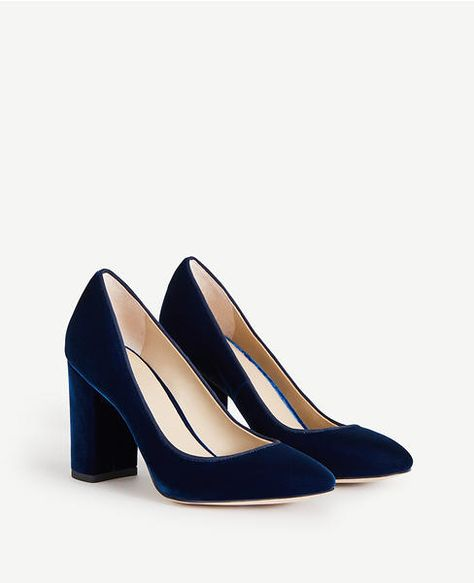 Ann Taylor Emeline Blue Velvet Block Heel Pumps | Holiday Style .