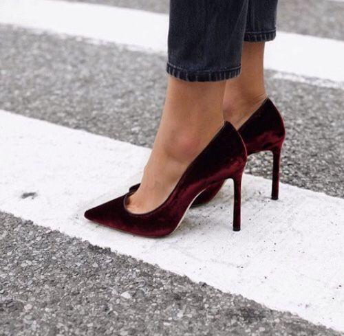 Burgundy velvet heels. | Velvet heels, Heels, Fashi