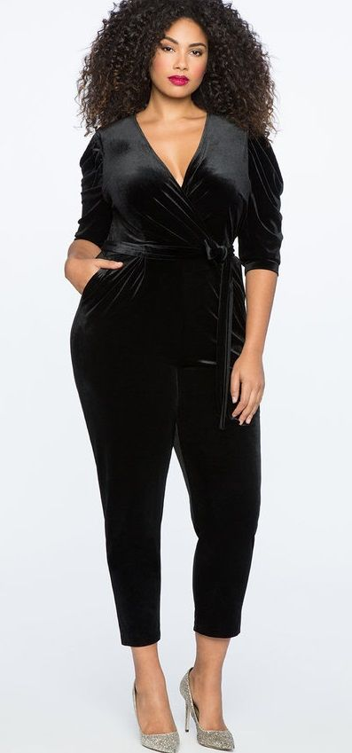 Plus Size Velvet Jumpsuit #plussize #velvet #party #holiday .