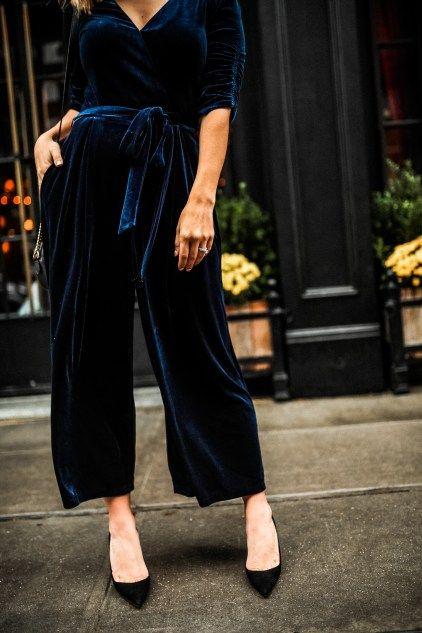 A Velvet Jumpsuit | Velvet jumpsuit, Jumpsuit outfit, Holiday outfi
