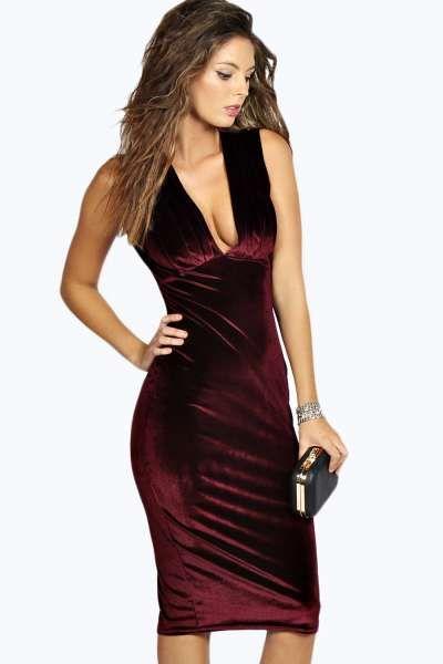 Pleated Velvet Midi Dress | boohoo | Velvet midi dress, Summer .