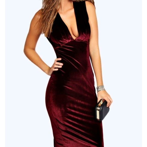 Dress Velvet midi dress berry color! Worn once! You going to .