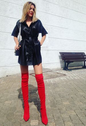 outfits with zara red over the knee boots | Chicisi