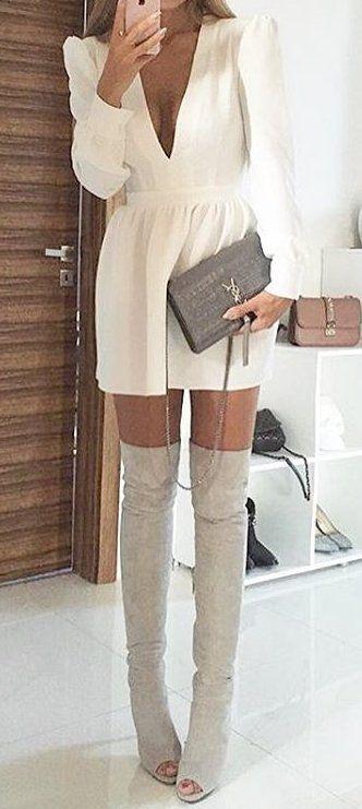 White V-neck Dress // Grey Velvet Over The Knee Boots | Fall .