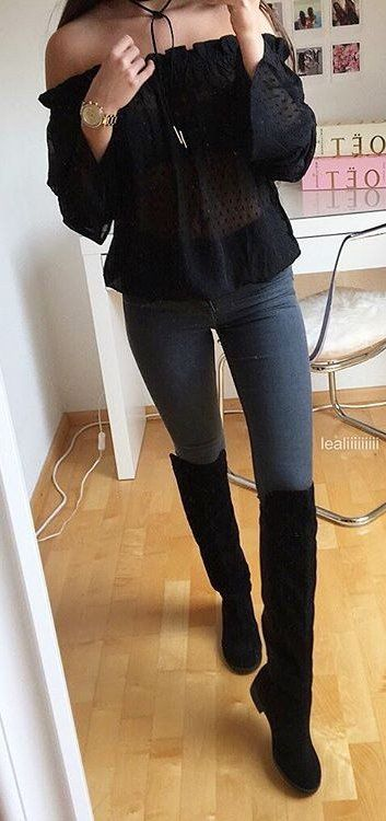 35+ Stylish Fall Outfits Ideas to Copy Right Now | High knee boots .