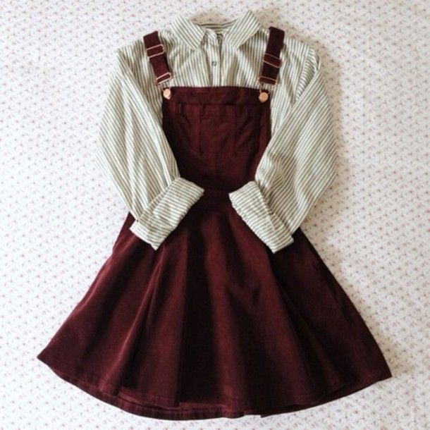 Dress: dungarees, burgundy, blouse, shirt, overall dress red .