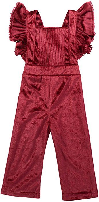 Amazon.com: puseky Toddler Baby Girls Ruffle Velvet Overalls Bib .