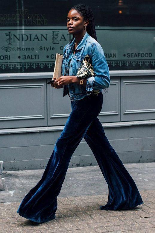 The Coolest Velvet Pants Of The Season | Velvet flare pants .