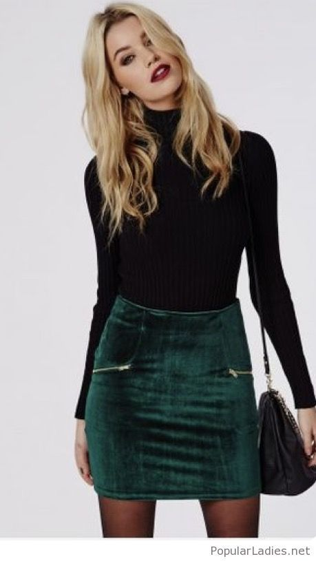 green-velvet-skirt-and-black-blouse | Fashion, Fall winter outfits .