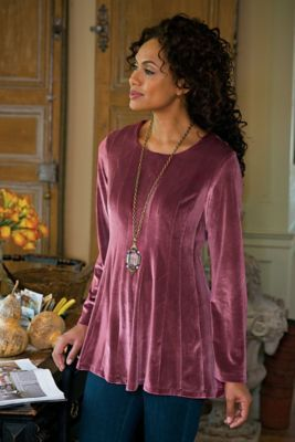 Bella Rosa Top - Velvet Top, Velvet Tunic, Long Sleeve Velvet Top .