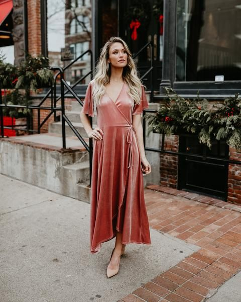 Tall Tales Velvet Wrap Dress - Dusty Rose - FLASH SALE | Velvet .
