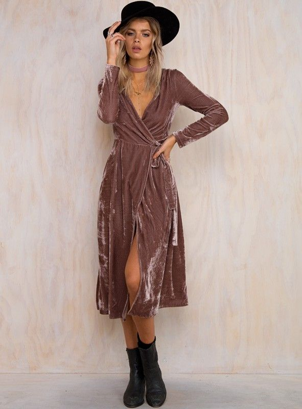 Lucille Velvet Wrap Dress - Shop Free People | Velvet fashion .
