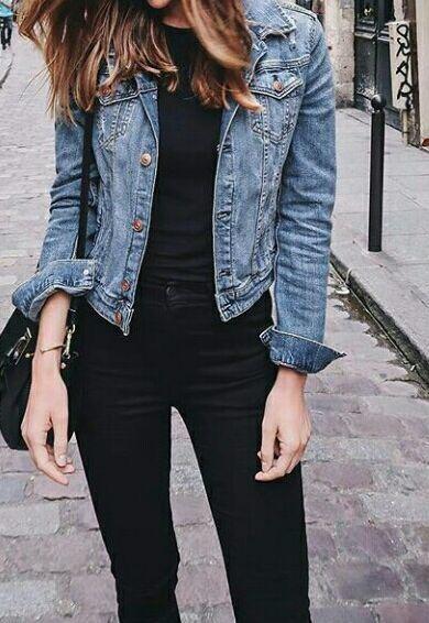 15 Cheap Blue Denim Jacket Outfit Ideas for Fall | Blue denim .