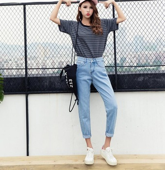 2019 New Slim Pencil Pants Vintage High Waist Jeans New Womens .