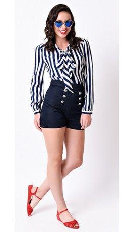Retro Style Indigo Blue High Waisted Stretch Sailor Shorts .