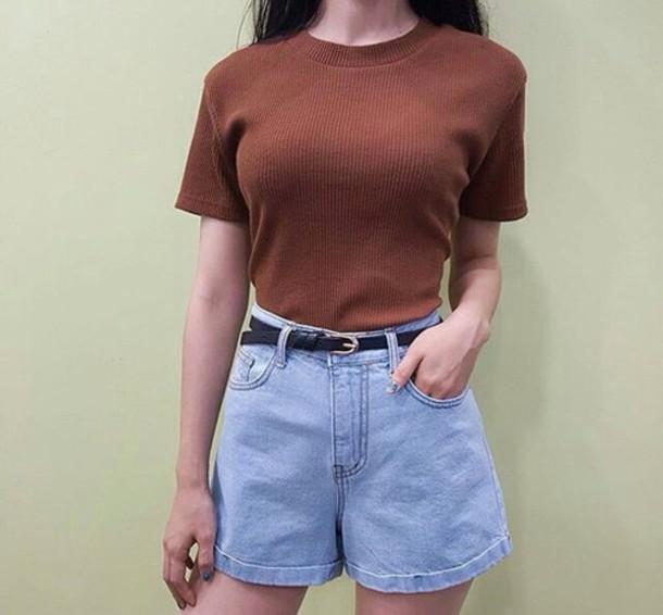 shorts, denim, summer, spring, vintage, 90s style, high waisted .