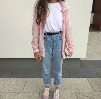 jacket pink tumblr coat girl cute pink jacket jeans pants blue .