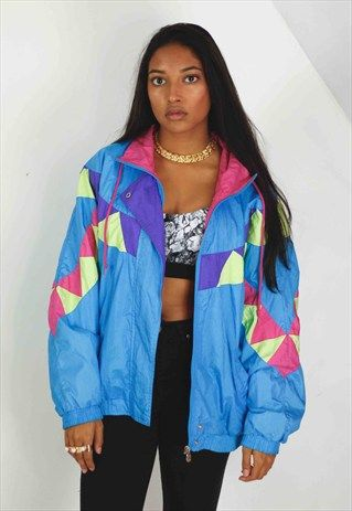 Vintage+Retro+Pattern+Windbreaker+Jacket+90s+M+12.6 | Retro .