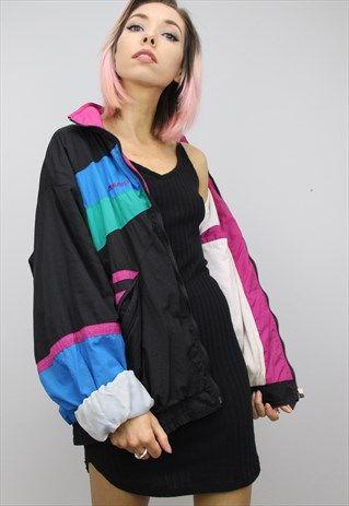 Vintage+80s/90s+Oversized+Colourful+Shell+Windbreaker+Jacket .
