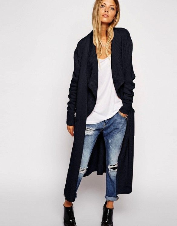 Model-Off-Duty Style: 3 Ways To Wear A Maxi Cardigan | Long black .