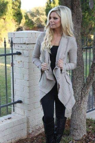 waterfall cardigan, all black outfit, tall black boots | Fashion .