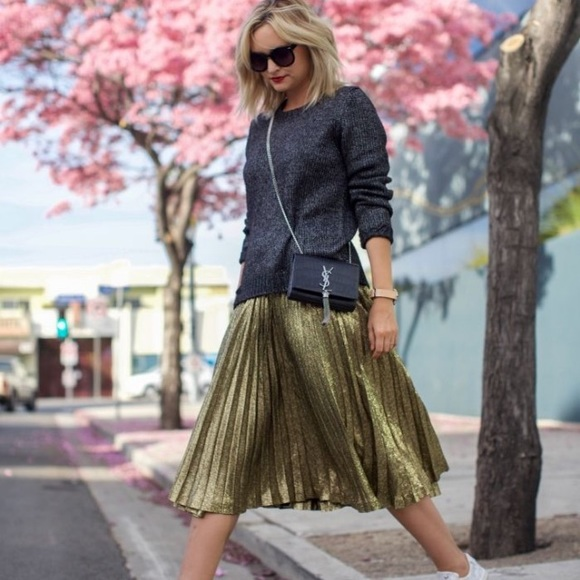 Skirts | Who What Wear Gold Pleated Skirt | Poshma