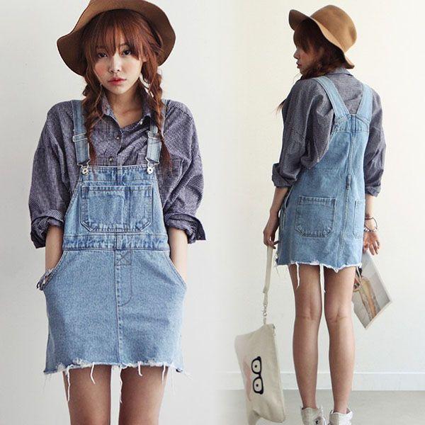 Denim overalls (skirt) | Denim fashion, Overall skirt denim, Fashi