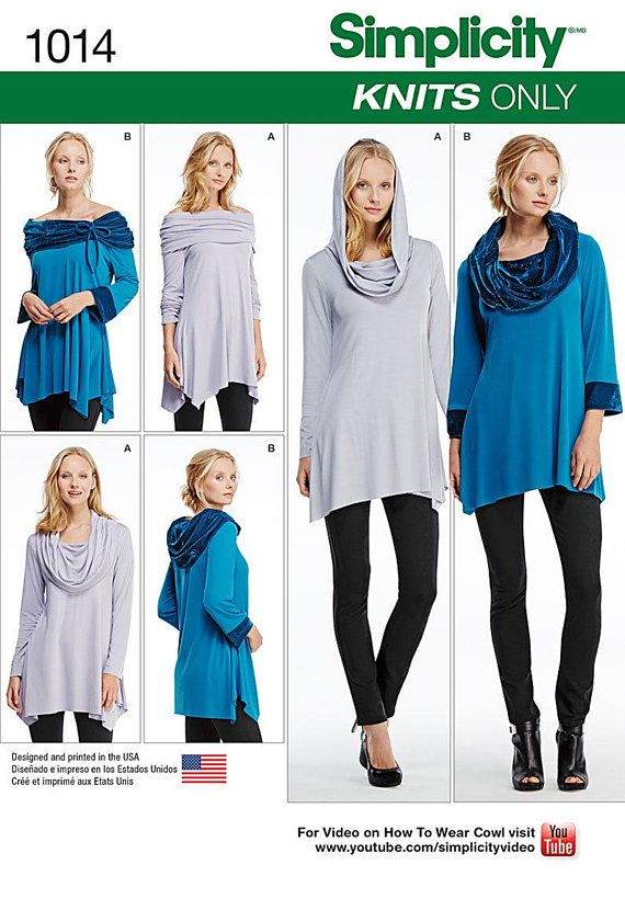 Simplicity Pattern 1014 - Misses Knit Tunics, Cowl Neck, off .