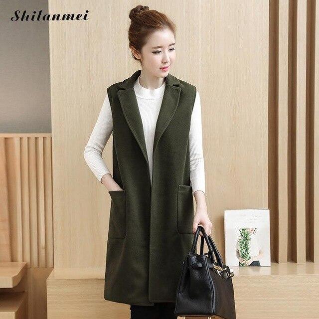 Women Vest Autumn Winter Vest Waistcoat Lady Office Wear Long .