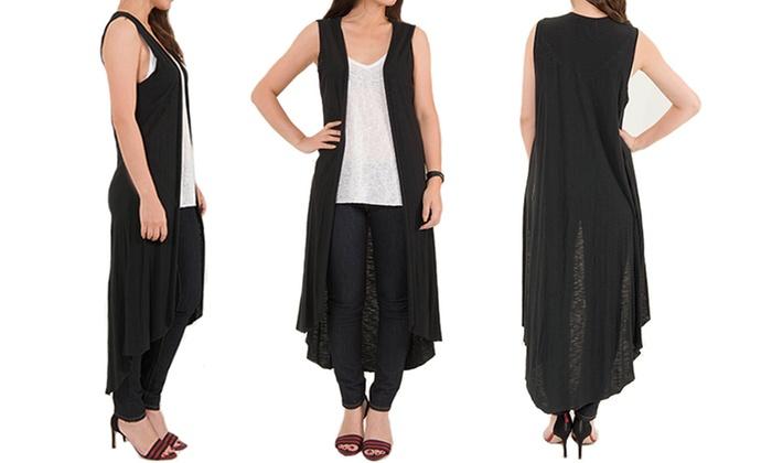 Women's Long Sleeveless Cardigan | Groupon Goo