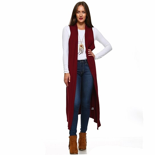 Buy Isaac Liev Women's Extra Long Sleeveless Cardigan Duster Vest .