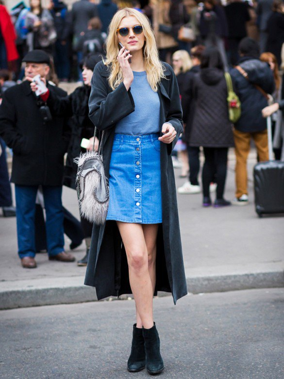 15 Best Outfit Ideas on How to Wear Button Up Skirt - FMag.c