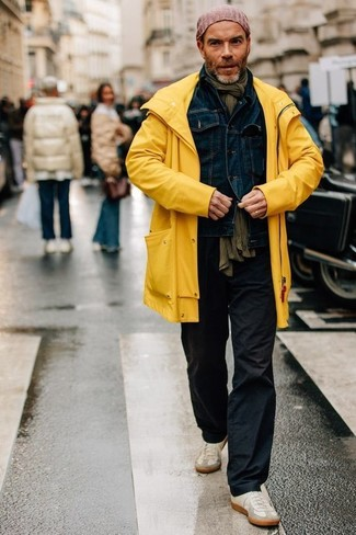 How To Wear Black Chinos With a Yellow Raincoat (3 looks & outfits .
