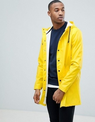 How To Wear a Yellow Raincoat With a White Crew-neck T-shirt For .