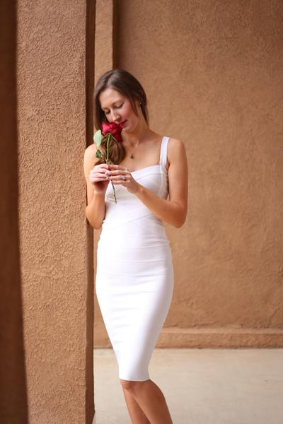Gunna White Midi Bandage Dress (XS, S, M, L)   The Kewl Sh