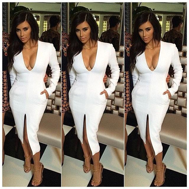 Sexy Celeb Split Bandage Dress Deep V Long Sleeve Solid White .