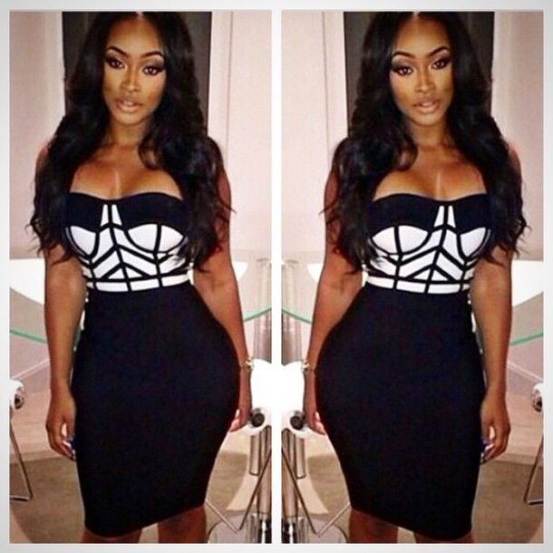 bandage dress, black and white, black and white dress, two-piece .